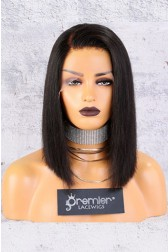 "13""x4.5"" Lace Frontal Wig,C Side Part Yaki Textured Bob,12"" 150% Thick Density [Advanced Pre-Bleached Knots,Pre-Plucked Hairline,Pre-Added Removable Elastic Band]"