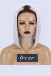 Gray Hair With Dark Roots Bob Cut Affordable Middle Part T Lace Wig,Indian Remy Human Hair