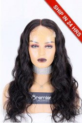 "5""*5"" HD Lace Closure Wig Body Wave, Indian Remy Human Hair Natural Color 22 inches 180%,Medium Size,Pre-Bleached Knots"