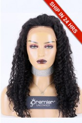 "Deep Wave Lace Front Wig, Indian Remy Hair 1B# 18"" 150%,Medium Size"