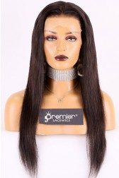 """Silky Straight Hair Indian Remy 13""""x4"""" Lace Frontal Wig,Transparent Lace  [Pre-bleached knots only for natural black,Pre-plucked hairline,Removable elastic band]"""