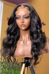 """Super Thin Transparent HD Lace, 5""""x5"""" HD Lace Closure Wig, Body Wave Indian Remy Human Hair  [Pre-bleached knots only for natural black color, Pre-plucked hairline, Removable elastic band]"""