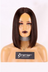 "Real Scalp Silk Base Closure Wig 3.5"" x 4"", Blunt Cut Bob Silky Straight, Natural Black 150% Thick Density, Average Size 22""-22.5"""