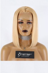 "Blunt Cut Bob 27/613# Blonde Hair 13""x3"" Lace Frontal Wig Silky Straight,12 inches, Average Size,150% Thick Density,Transparent Lace, Removable Elastic Band"