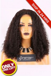 Super Deal Silk Base Lace Front Wig,Indian Remy Hair Natural Color 14 inches Curly 150% Thick Density, Medium Size,Medium Brown Lace