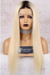 "Dark Roots Blonde Hair 13""x4"" Lace Frontal Wig, Silky Straight Indian Remy Hair, Pre-plucked hairline"