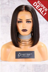 "4.5"" & 6"" Lace Frontal Wig,Italian Yaki Textured Bob, Middle Part,150% Thick Density [Pre-Bleached Knots,Pre-Plucked Hairline,Removable Elastic Band]"