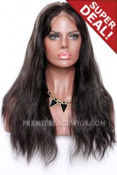 Black Hair Blonde Highlights 1B/27# Full Lace Wigs Indian Remy Hair Natural Straight,10 inches ,Medium Size,Light Brown Lace
