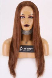 "Brown Color 6# Indian Remy Human Hair 13""x4"" Lace Frontal Wig, Silky Straight Transparent Lace, Pre-plucked hairline,Removable elastic band"