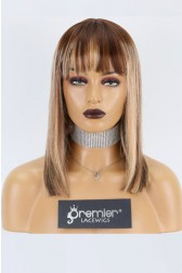 "Keri--Bangs Style Bob Cut Ombre Blonde Highlights 13""x4"" Lace Frontal Wig, Average Size,14 inches 150% Thick"
