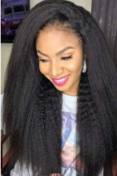 "Brianna--Invisible HD Transparent Lace,Single Knots,6"" Lace Frontal Wig,100% Cuticles Aligned Virgin Hair,Kinky Straight"