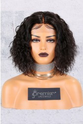 "Permanent Root To Tip Curls Bob,Middle Part 4.5"" Lace Front Wig [Advanced Pre-Bleached Knots,Pre-Plucked Hairline,Pre-Added Removable Elastic Band]"