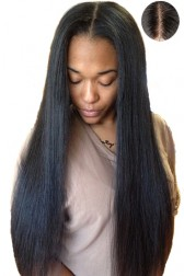 "Indian Remy Hair Yaki Straight,4.5"" Super Deep Middle Part Lace Front Wigs,Pre-Plucked Hairline"