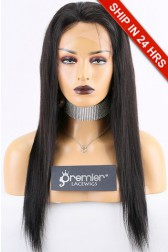 Super Deal Lace Front Wig,Indian Remy Hair 1B# 18 inches Silky Straight 120% Normal Density, Small Size,Light Brown Lace