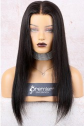 "Destiny--Invisible Knots Transparent HD Lace,Yaki Straight 6"" Lace Frontal Wig,100% Cuticles Aligned Virgin Hair,Removable Elastic Band { Not In Stock,Production Time 90 working days }"