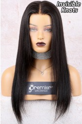 "Destiny--Invisible Knots Transparent HD Lace,Yaki Straight 6"" Lace Frontal Wig,100% Cuticles Aligned Virgin Hair,Removable Elastic Band [Not In Stock,Production Time 90 working days ]"