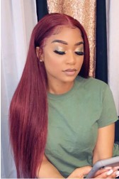 """Burgundy Hair Color #99J,Super Thin Transparent HD Lace, 5""""x5"""" HD Lace Closure Wig, Indian Remy Human Hair Silky Straight [Pre-bleached knots, Pre-plucked hairline, Removable elastic band]"""