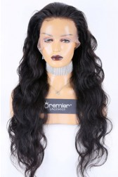 Super Long 28 inches Full Lace Wigs Body Wave Chinese Virgin Hair Natural Color 130% Normal Density Medium Size