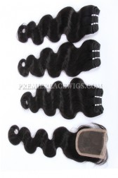Brazilian Virgin Hair Weave 4ozs thick Hair Body Wave 3 Bundles with A Lace Closure Deal