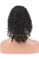 10mm Curly Indian Remy Hair Glueless Lace Front Wigs