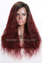 "Red Ombre Hair Natural Straight 13""x4"" Lace Frontal Wig, Indian Remy Hair, Average Size,Light Brown Lace"
