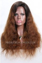 "Brown Ombre Hair Natural Straight 13""x4"" Lace Frontal Wig, Indian Remy Hair, Average Size,Light Brown Lace"