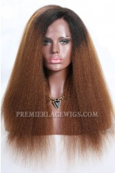 "Brown Ombre Hair Blowout Style Kinky Texture 13""x4"" Lace Frontal Wig,Indian Remy Hair,130% Normal Density,Average Size"