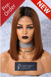 "Luxury Copper Ombre Hair Bob 4.5"" Lace Front Wig,Virgin Human Hair Silky Straight Middle Part,12 inches,180% Thick Density {Pre-Order Now,Will Receive After 40 Days}"