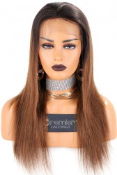 Brown Ombre Lace Front Wigs,Chinese Virgin Hair Silky Straight,Average Size,Light Brown Lace
