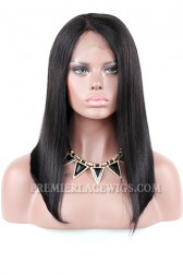 Clearance Lace Part Affordable Wig,Right Side Part Yaki Bob Indian Remy Human Hair Lace Wigs.