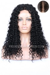 "Indian Remy Hair Big Curl,4.5"" Super Deep Middle Part Lace Front Wigs{Custom Wig Production Time 15 working days}"