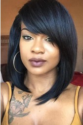 Layered Medium Bob With Side Swept Bangs Lace Front Wig 180% Thick Hair Density 14inches