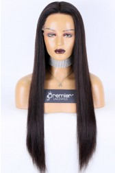 Transparent HD Lace Full Lace Wigs,Chinese Virgin Human Hair Silky Straight,Natural Color Medium Size,Pre-plucked Hairline