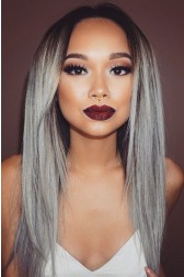 Luxury Brazilian Virgin Hair Silver/Grey Ombre Straight 150% Thick Density Celebrity Lace Wigs