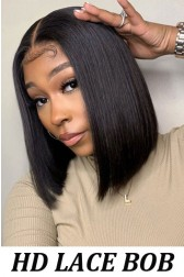 Blunt Cut Bob Lace Front Wigs,Indian Remy Human Hair Silky Straight, Super Thin Transparent HD Lace [Pre-bleached knots only for Natural Color, Pre-plucked hairline, Removable elastic band]