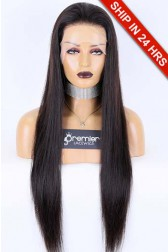 Transparent Lace Full Lace Wig 100% Hand-Tied,Chinese Virgin Human Hair Silky Straight, Natural Color 26 inches 130% Medium Size