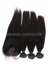 Peruvian Virgin Hair Silky Straight A Lace Closure With 3 Bundles Deal