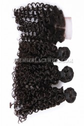 Peruvian Virgin Hair Candy Curl A Lace Closure With 3 Bundles Deal