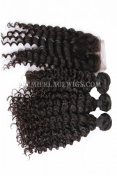 Peruvian Virgin Hair Deep Wave A Lace Closure With 3 Bundles Deal
