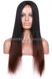 Luxury Brazilian Virgin Hair Coarse Yaki Black To Brown Ombre 160% Thick Density Celebrity Lace Wigs