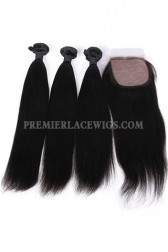 Light Yaki Virgin Indian Human Hair Extension A Silk Base Closure with 3 Bundles Deal