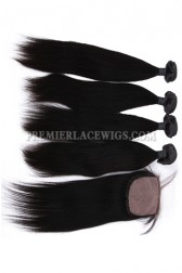 Straight Virgin Indian Human Hair Extension A Silk Top Closure With 4 Bundles Deal