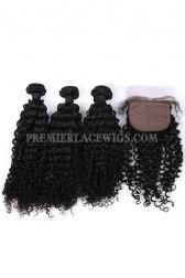Water Wave Virgin Indian Human Hair Extension A Silk Base Closure with 3 Bundles Deal