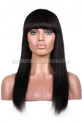 {15 business days processing time} Indian Remy Hair Full Bangs Yaki Straight Glueless Non-lace Wigs With Natural Looking Silk Top Hair Whorl