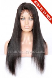 "Deep C Side Part 4.5"" Lace Front Wig,Indian Remy Hair Yaki Straight,Natural Color,20 inches,130% Normal Density,Average Cap Size,Pre-plucked Hairline"