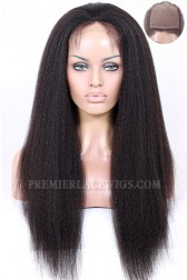 Indian Remy Hair Kinky Straight Glueless Silk Top Full Lace Wigs