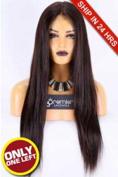 Super Deal Affordable Full Lace Wigs,Malaysian Virgin Hair Silky Straight,Natural Color,120% Normal Density, Medium Size,Light Brown Lace