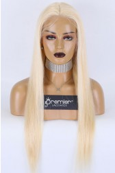 613# Blonde Hair HD Lace Full Lace Wigs,Virgin Human Hair Silky Straight,Medium Size,Pre-plucked Hairline