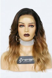 Megan-- Blonde Ombre Wavy Virgin Hair Lace Wig,150% thick density, Pre-bleached knots,Removable elastic band