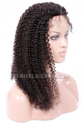 Kinky Curl Indian Remy Hair Glueless Lace Front Wigs